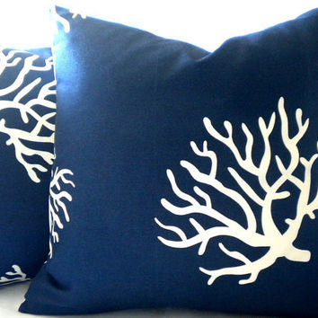 Decorative designer Navy with white coral pillow cover 18 inch