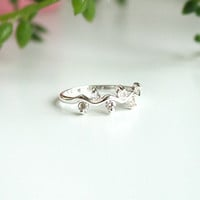 Olive Leaf Sterling Ring 3mm