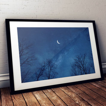 Night Sky Cresent Moon Fantasy Photography Print