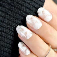 Clear White Jade False Nails Small Round Head Cotton Candy Style Fake Nails Artificial Pre Designed Bride Nail Art Tips