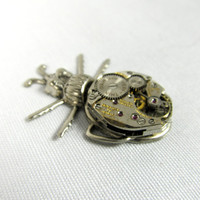 steampunk beetle brooch - pin bug watch movement watch parts silver mens