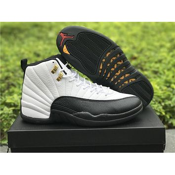 Air Jordan 12 Taxi White Black For Women Men GS Sneakers