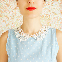 Bucco // Handmade Ivory Cotton Lace Collar Pearl Necklace Applique Blouse Accessories Peter Pan Collar