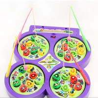 New Child Kid Educational Toy Electric Rotating Magnetic Magnet Fish Go Fishing Game radom color