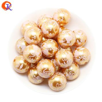 Free Shipping 20MM 100pcs/lot Orange Color Acrylic Pearl Print Rose Beads For Chunky Necklace Kids Jewelry Making