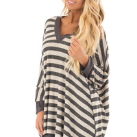 Oatmeal and Charcoal Striped Poncho Style V Neck Top