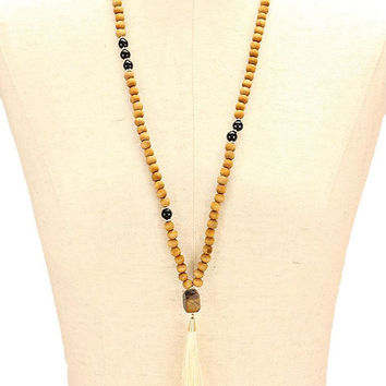 Gold & Ivory Thread Tassel Pendant Wood Bead Long Necklace