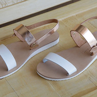 leather sandals , women's sandal , wide straps white and brass , sandals , women's shoes , greek sandals , sandal
