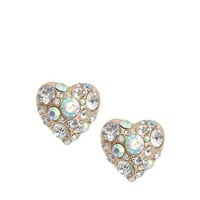 River Island Chunky Heart Crystal Stud Earrings at asos.com