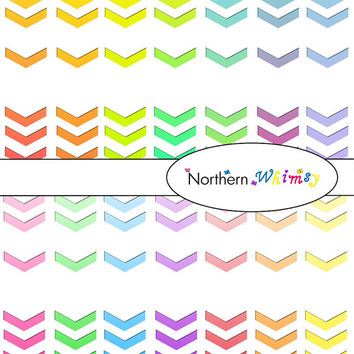 Digital Scrapbooking Paper Pack – Ombre geometric arrow cut outs in a stripe down the side of white digital paper - instant download - CU OK