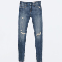 Soft ripped superskinny jeans