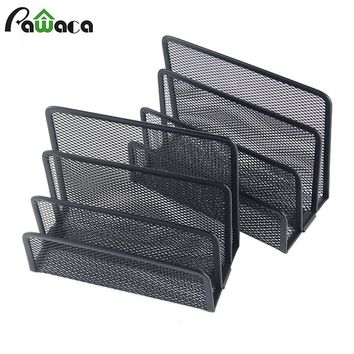 2PCS Desktop File Holder Metal Mesh Right Hand File Box Block Data Rack Document File Bar Box Storage Shelves Office Organizer