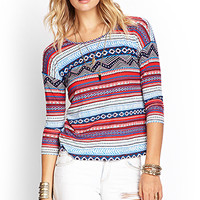 Mixed Tribal Print Top