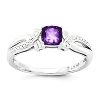 Sterling Silver Cushion Amethyst Diamond Ring