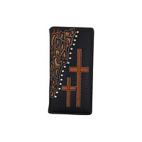 PU Leather Western Men Checkbook Credit Card Wallet Floral Cross Design Texas Style W056-BK-BR (C)