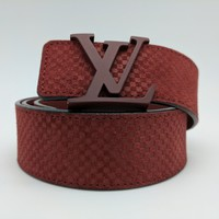 Authentic Louis Vuitton LV Initiales 40MM Carmine Suede Belt 90cm/36 inches