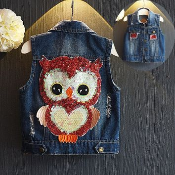 Trendy Toddler kids Denim Vest Coat For Boys And Girls Fashionable Cute Owl Pattern Waistcoat Baby Spring/Autumn jackets AT_94_13