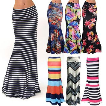 Women's Fashion Plus Size Floor-length Maxi Skirt with Stretch
