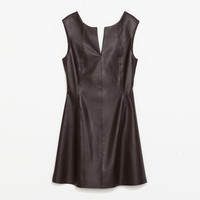 SEAMED FAUX LEATHER DRESS