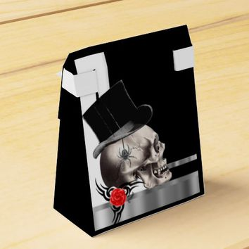 Black and white gothic groom skull goth wedding favor box