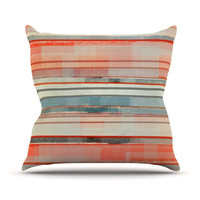 "CarolLynn Tice ""Patton"" Orange Teal Throw Pillow, 16"" x 16"" - Outlet Item"