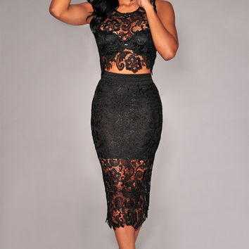 Black Crochet Lace Sleeveless Cut Out Bodycon Midi Dress