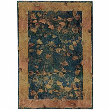 Kharma Blue Gold Border  Transitional Rug