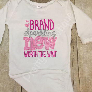 Baby girl Brand Sparkling New and Worth the Wait gown. Perfect for hospital or coming home outfit hot pink