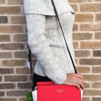 NWT KATE SPADE Cedar Street Hayden Small Crossbody Cherry Red black White Bag