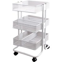 "Storage Studios Mobile Craft Cart with Dividers, 27.5 x 15.1 x 13.9"", White"