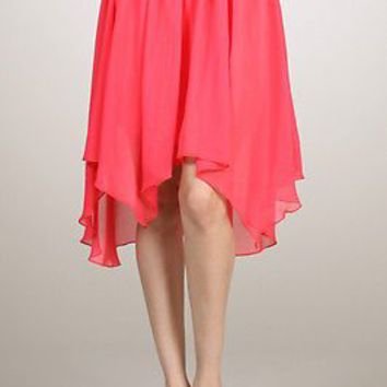 Summer Sheer Chiffon Pleated Maxi Hi-Low Irregular Hem Elastic Waist Band Skirts