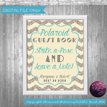 "Polaroid Guest Book Sign for Wedding ""Strike A Pose""  (Printable File Only) Art Deco 20's Elegant Fun Glitter Chevron Favor Treat Table Sign"