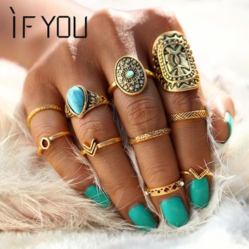 IF YOU 10PCs/Set Antique Tibetan Mixed Blue Stone Carved Knuckle Midi Ring Set for Women Punk Boho Steampunk Rings Jewelry Gift