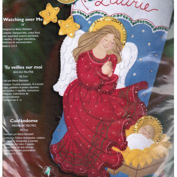 Bucilla Christmas Stocking Kit Watching Over Me Angel