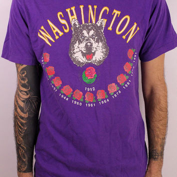 Vintage 1992 90s -  Seattle Washington Huskies College Football Rose Bowl - Novelty Souvenir - Purple Tee T Shirt - Husky Logo