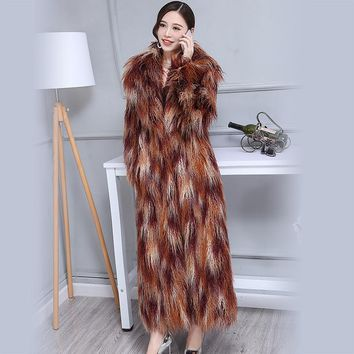 Nerazzurri Winter Faux Fur Coat Women 2018 Extra Long Colorful Shaggy Hairy Maxi Plus Size Mongolia Sheep fur Overcoat 6XL 7XL