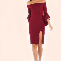 Burgundy Pencil Cut Bell Sleeve Split Dress
