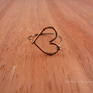 Heart Ring, Antique Brass, Wire Wrap