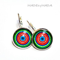 Red and green Leverback earrings Manadalas Colorful circles trend, gift for her from MADEbyMADA (D3)