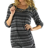 Graphic Tribal Print High Low Dress - Black/White