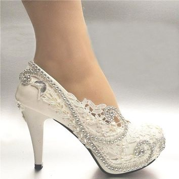 Women's White Light Lvory Lace Bead Crystal Wedding Shoes Heel Pump 3Inch/8 cm