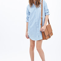 FOREVER 21 Longline Chambray Shirt Blue Large