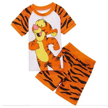 Summer 2017 Children Clothing Cartoon Tigger Boys Tracksuit Cute Boy Clothing Set T Shirt + Short Boys Clothes Tracksuit Kids