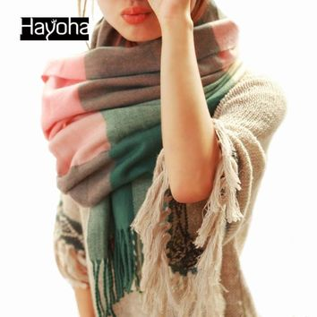 Fashion Wool Winter Scarf Women Bandana Plaid Thick Cachecol Brand Shawls and Scarves for Women