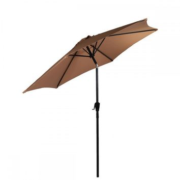 Patio Umbrella 8' Aluminum Outdoor Patio Market Umbrella Tilt W Crank 18