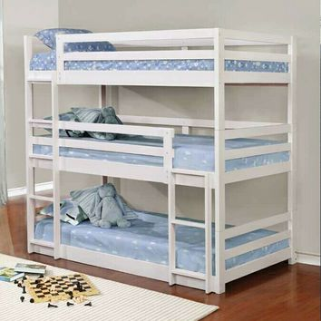 Triple twin collection white finish wood triple twin over twin over twin bunk beds