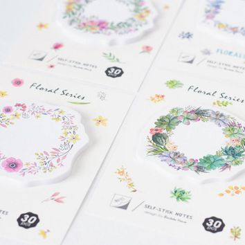 1 pcs Memo Pads Sticky Notes Kawaii Cute Wreath Paper Post It Stickers Escolar Papelaria Office School stationery Bookmark