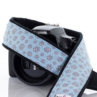 Baby Blue Paw Prints Camera Strap, dSLR, SLR, Dog, Cat, Camera Neck Strap, Canon, Nikon, 253