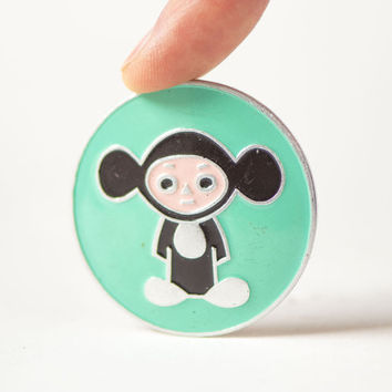 Cheburashka button badge mint shade, iconic Soviet cartoon character Cheburashka pin for kids, gift fun pin