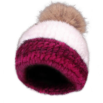 Mink Limited Edition Full Fur Hat Stripe